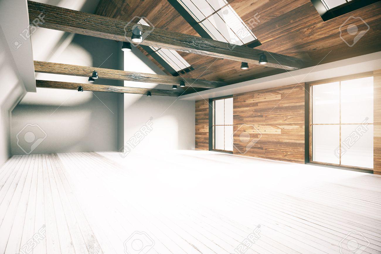Loft Interieur Mit Holzwänden, Boden Und Decke. Landhausstil. 3D ...