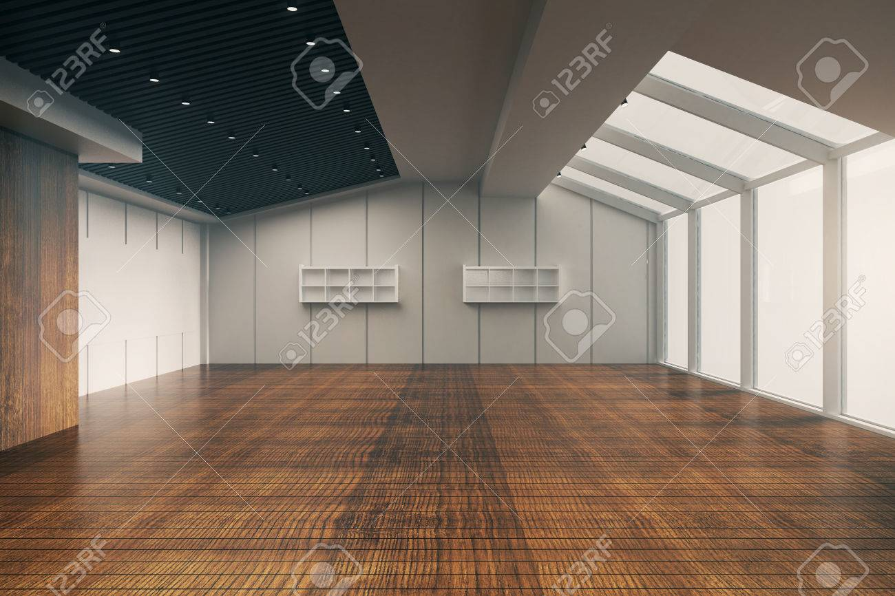 Frontansicht Des Modernen Leeren Büro Interieur Mit Holzboden ...