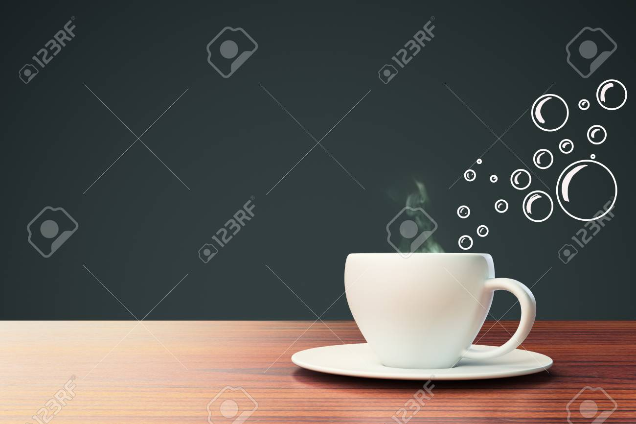 ceramic coffee cup with abstract bubble drawings on dark grey