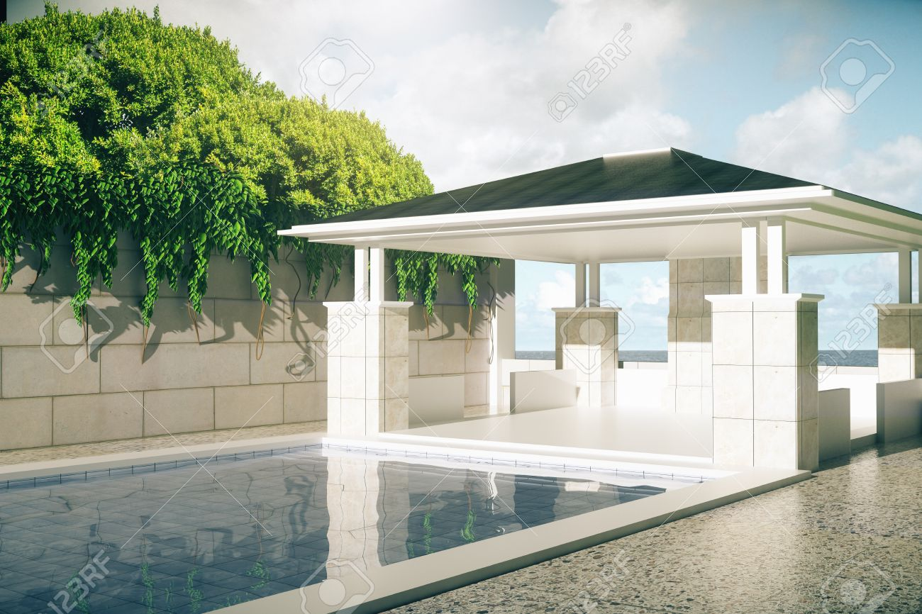Luxurious Outdoor Pool And Patio Exterior With Green Trees On Sky  Background With Sunlight. 3D
