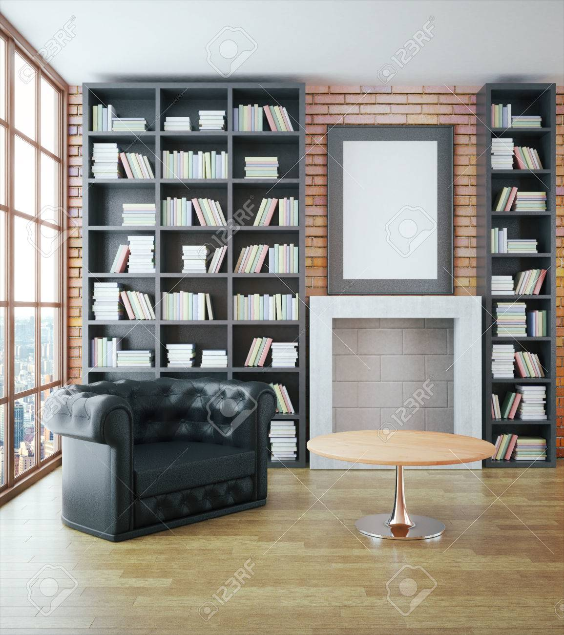 Luxurious library interior with black leather sofa, bookshelves,..