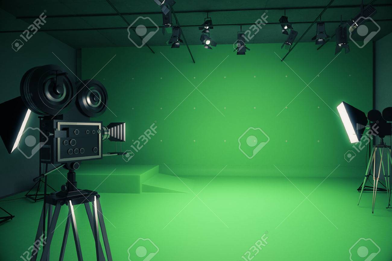 Modern green photo studio with old style movie cameras and professional lighting equipment. 3D Rendering & Modern Green Photo Studio With Old Style Movie Cameras And ... azcodes.com