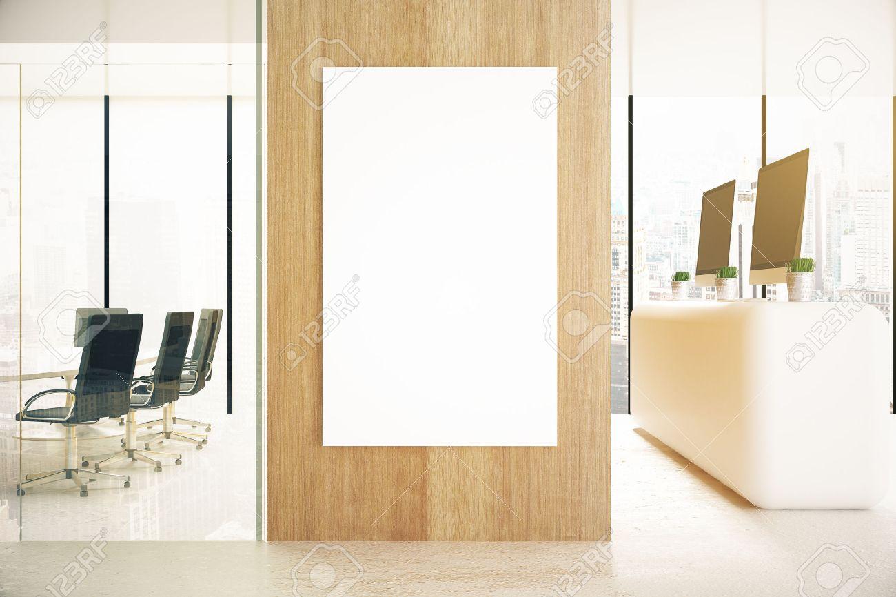 Interieur Bureau Avec L Affiche En Blanc Sur Le Mur En Bois Et La Lumiere Du Jour Maquette Rendu 3d
