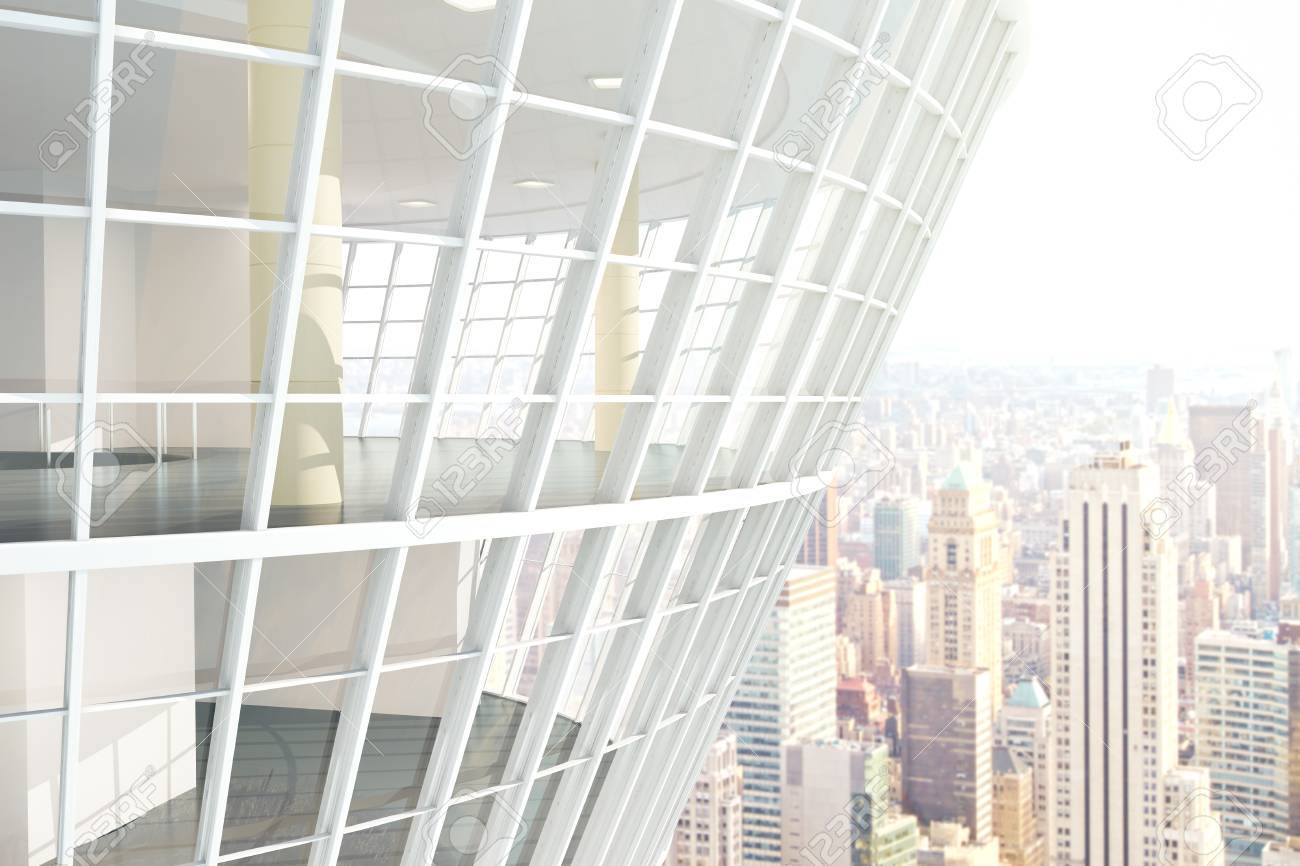 See Through Glass See Through Glass Building Exterior On City Background 3d