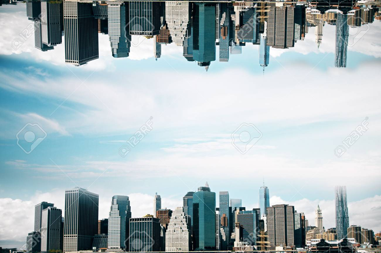 Abstract Upside Down City On Sky Background Wallpaper Backdrop With Copy Space Stock Photo