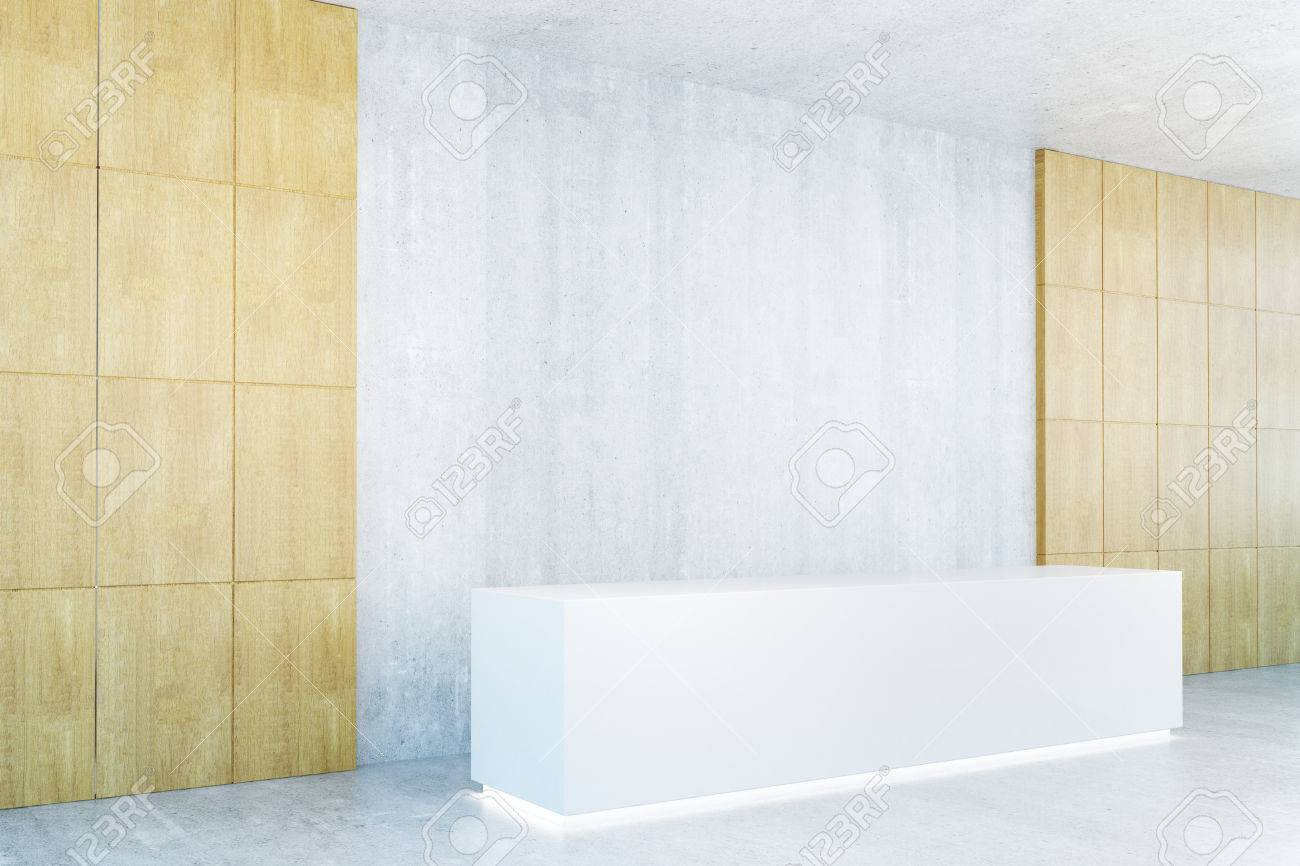 side view of modern reception desk in interior with blank concrete wall mock up