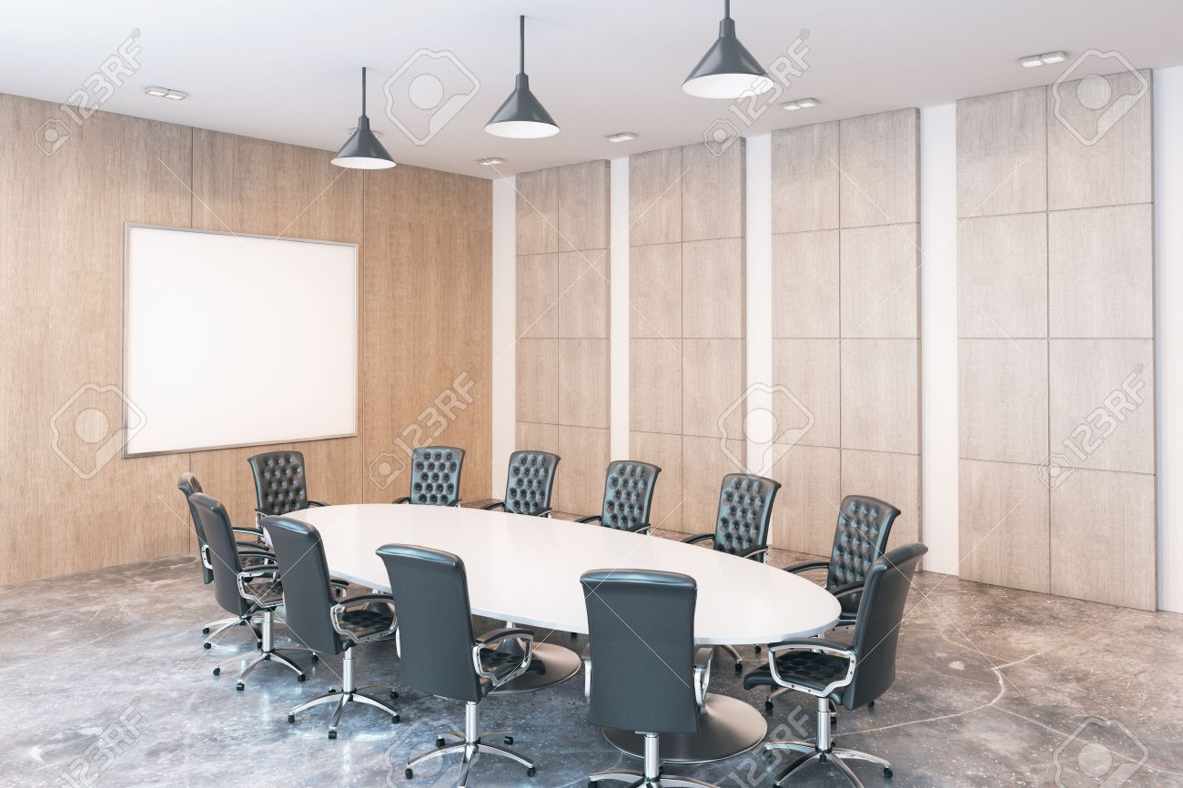 Side View Of Modern Conference Room With Blank Whiteboard Mock - Whiteboard conference table