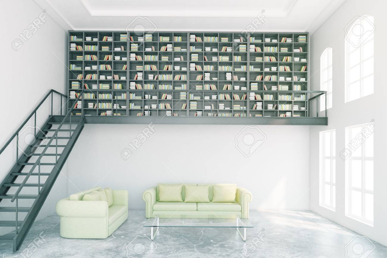 Modern Library Interior With Bookcase, Stairs And Light Green Furniture. 3D  Rendering Stock Photo
