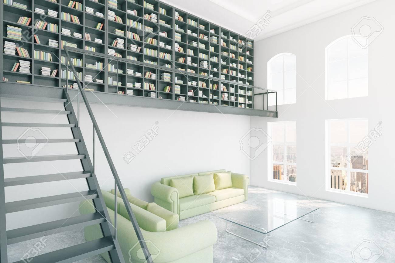 foto de archivo interior de la biblioteca moderna con estantera escaleras muebles de color verde claro y de la ciudad d