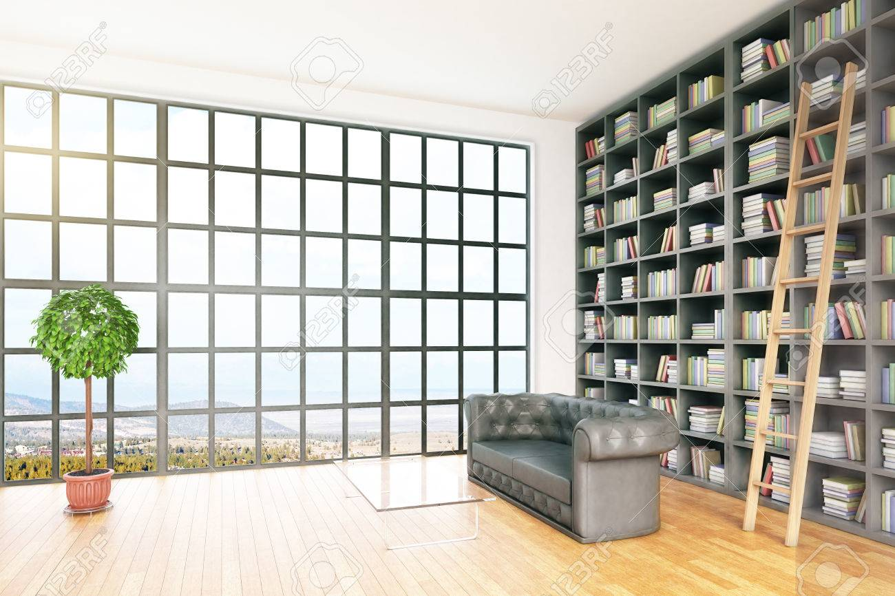 Modern Library Interior With Equipment And Landscape View. Side View, 3D  Rendering Stock Photo