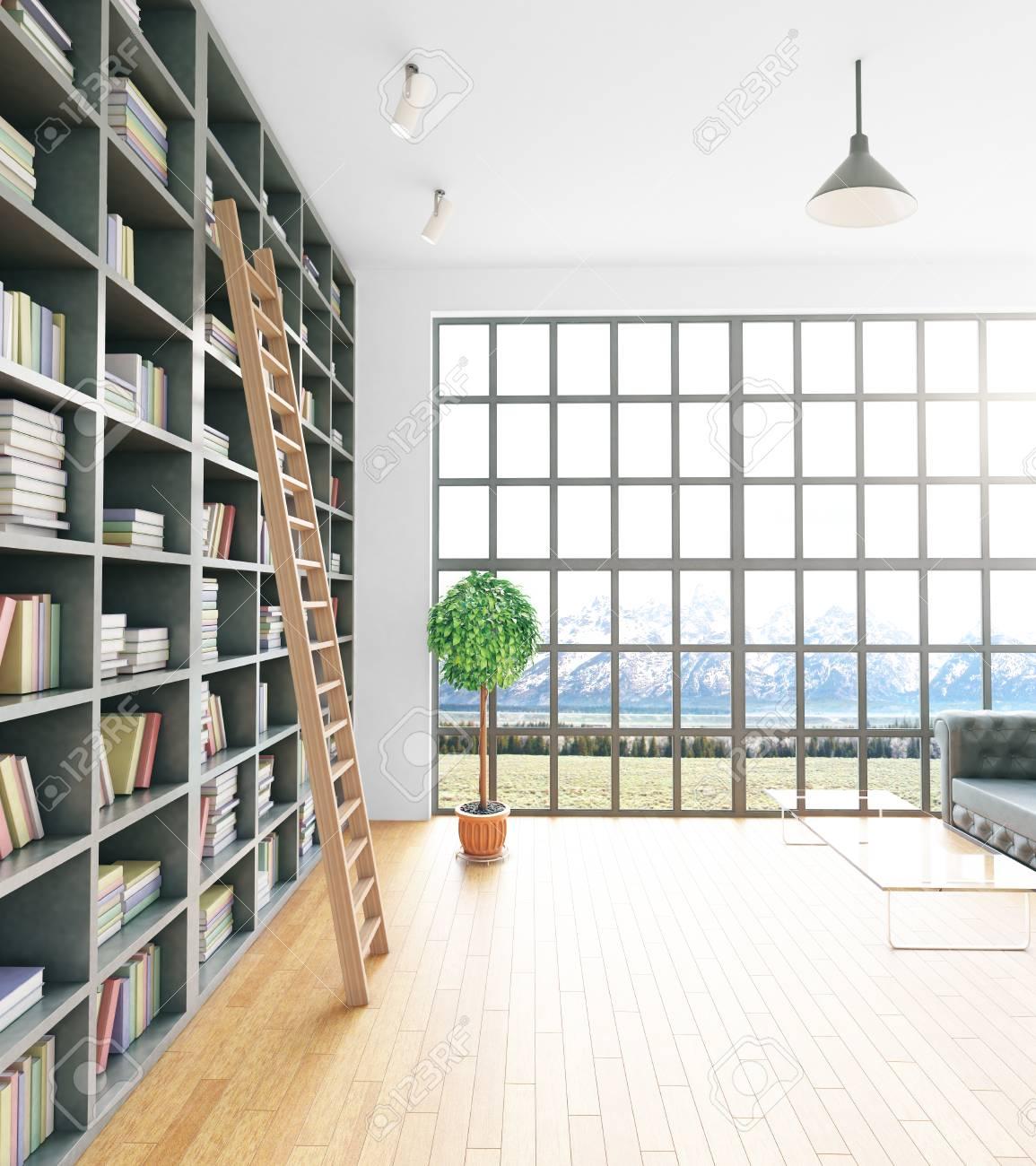 Vue De Côté De L\'intérieur De La Bibliothèque Moderne Avec Des ...