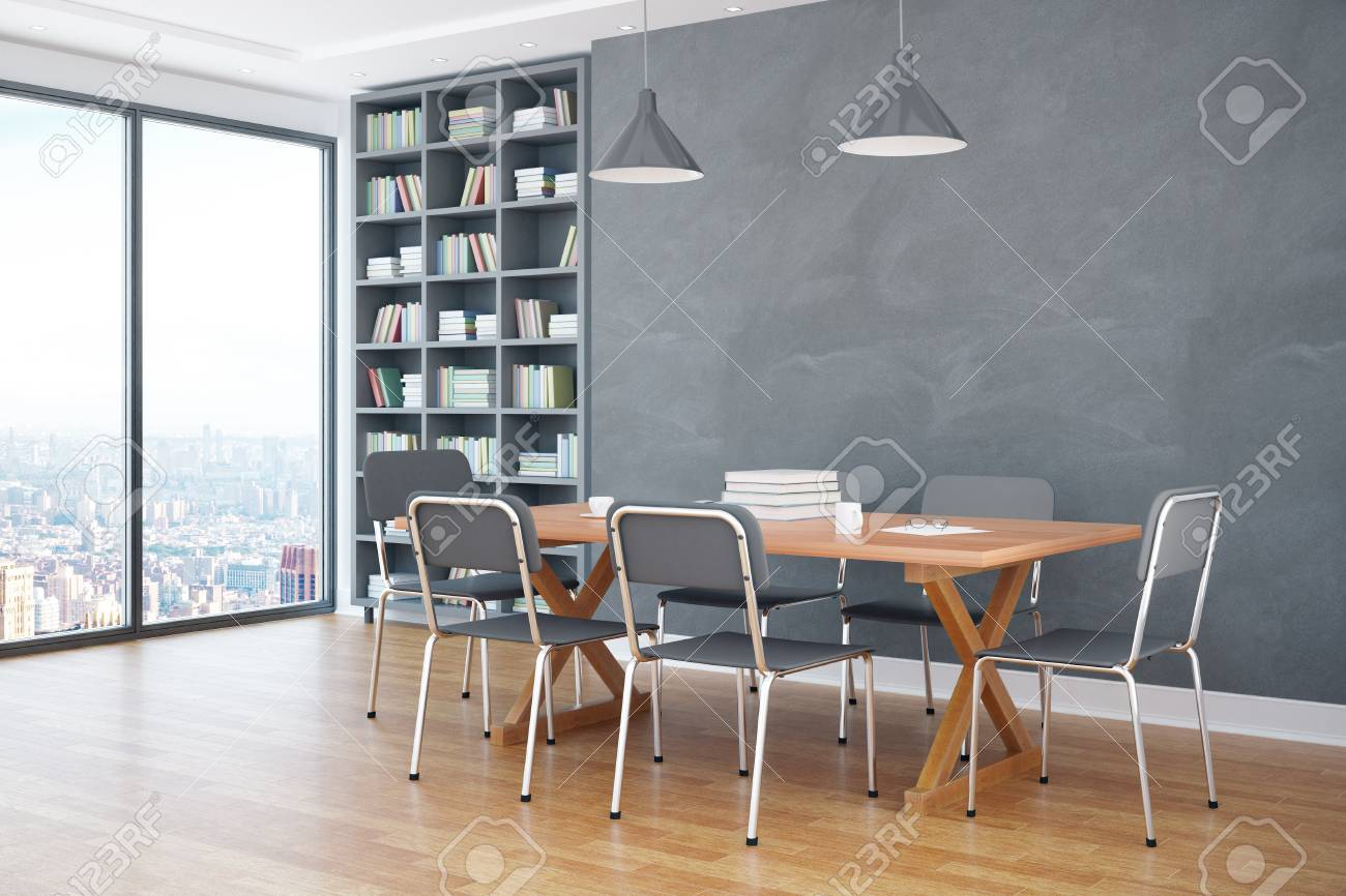 Modern Interieur Wit : Side view of modern classroom interior with table chairs
