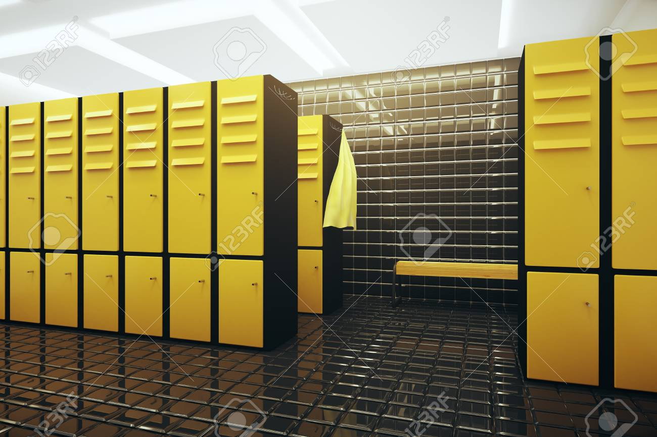 Bright gym changing room interior. 3d rendering stock photo picture