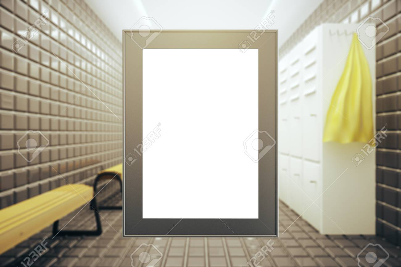 Front View Of Empty Picture Frame On Modern Changing Room Background ...