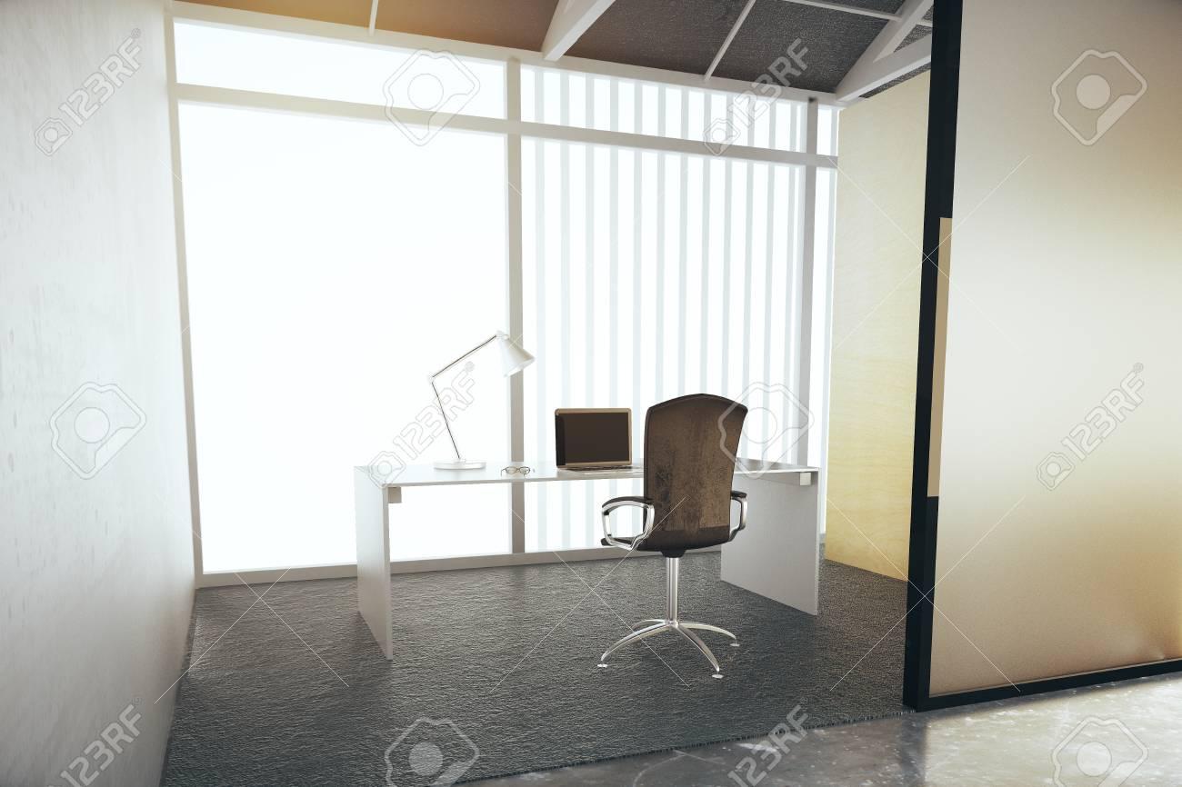 Interior De La Oficina Moderna, Sin Vistas. Representación 3D Fotos ...