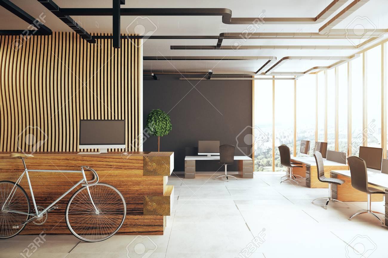 Intérieur creative bureau à vélo réception plusieurs bureaux