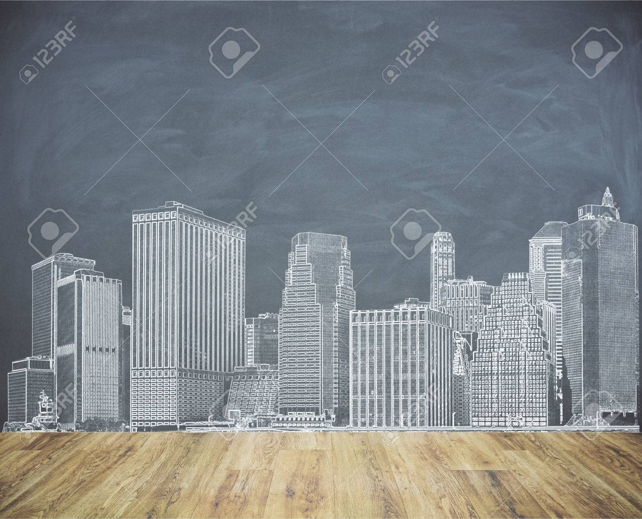 La Plinthe Du Mur croquis de ville créatif sur le mur de la planche. concept d'urbanisation