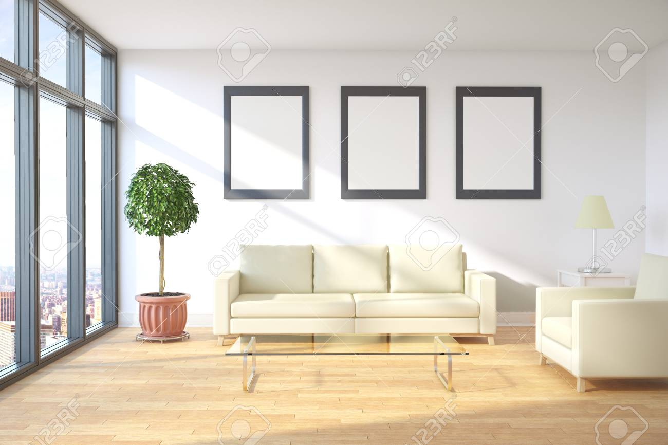 Front view of modern living room interior with city view, furniture..