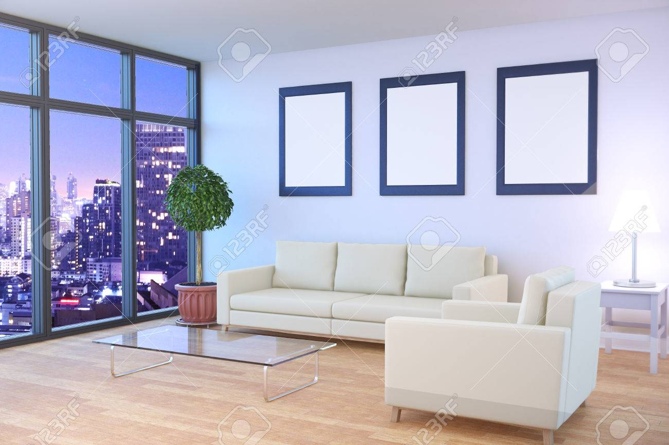Perfect Front View Of Modern Living Room Interior With Night City View, Furniture  And Empty Picture