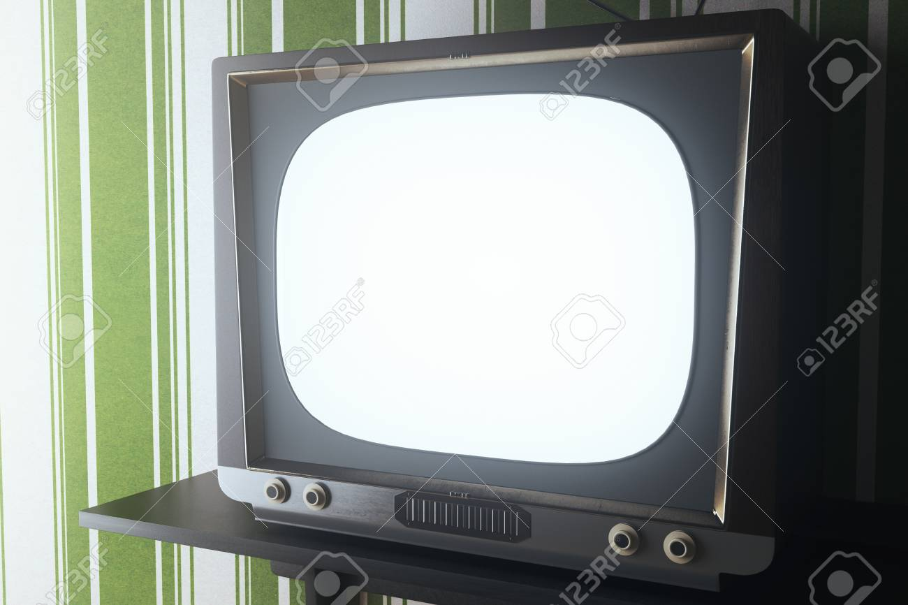 Close Up Of Vintage TV With Blank White Screen Placed On Small Shelf Striped Green