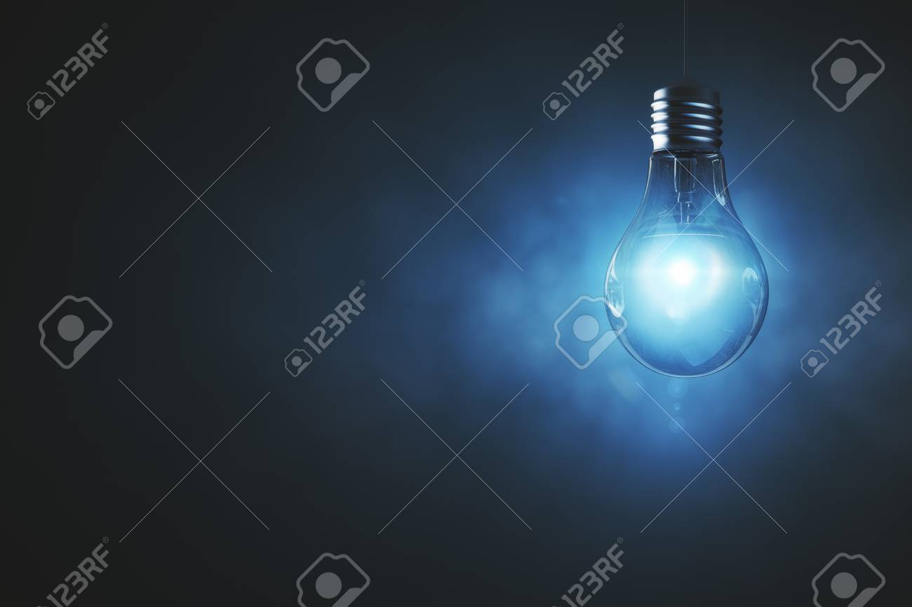Lamp on abstract misty background with copy space. Progress concept. 3D Rendering - 83154065