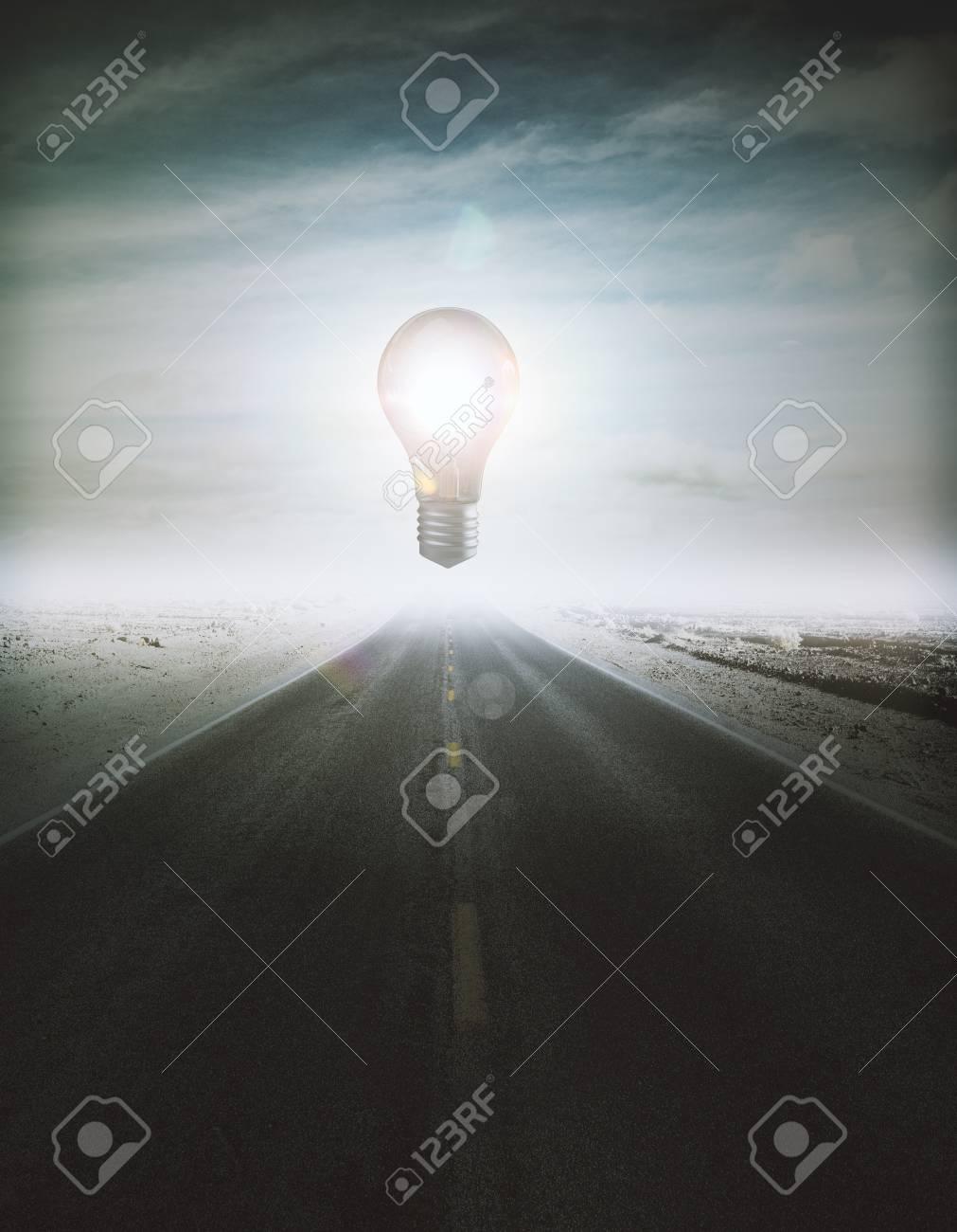 abstrakte glühende frei schwebende lampe mitten in straße. idee
