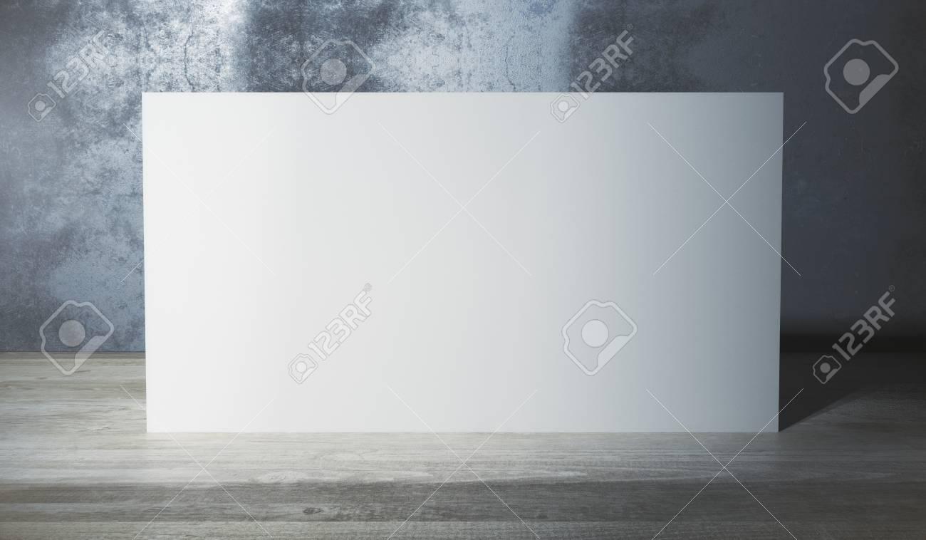 3d Fußboden Material ~ Leere weiße plakatwand im raum mit hölzernem fußboden und
