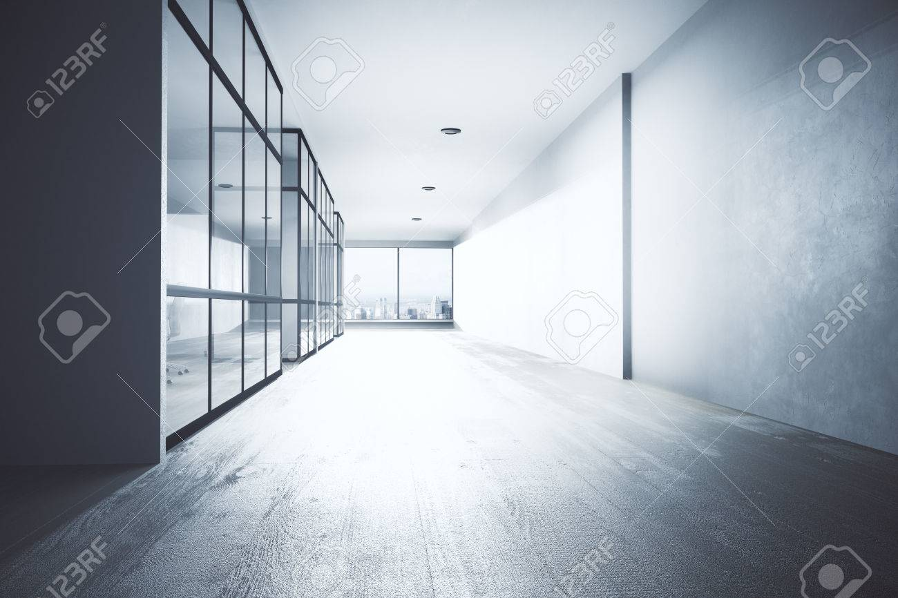 office hallway. Bright Office Hallway Interior With Equipment, City View And Daylight. 3D Rendering Stock Photo