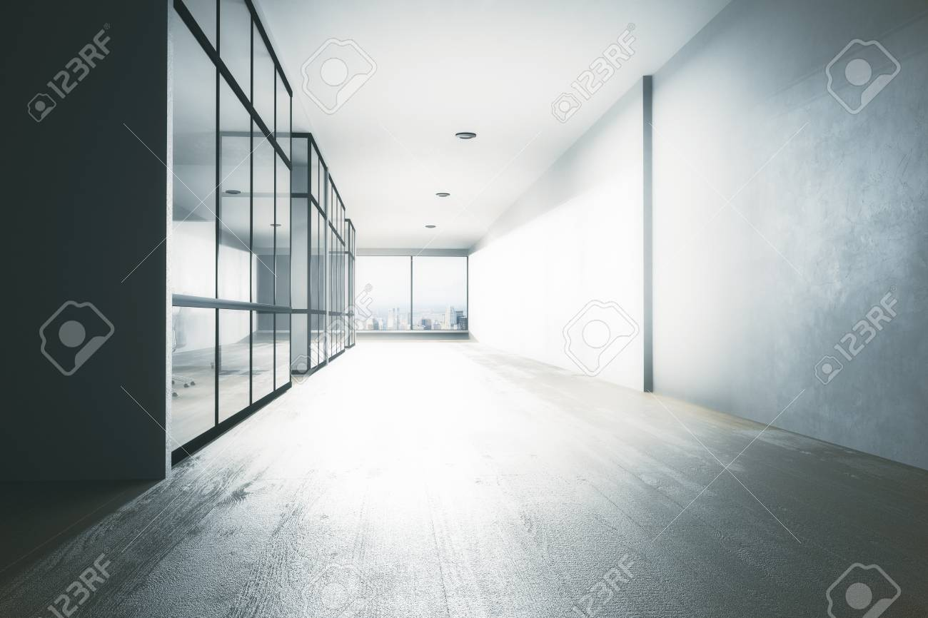 Office hallway Modern Clean Office Hallway Interior With Equipment City View And Daylight 3d Rendering Stock Photo 123rfcom Clean Office Hallway Interior With Equipment City View And Daylight