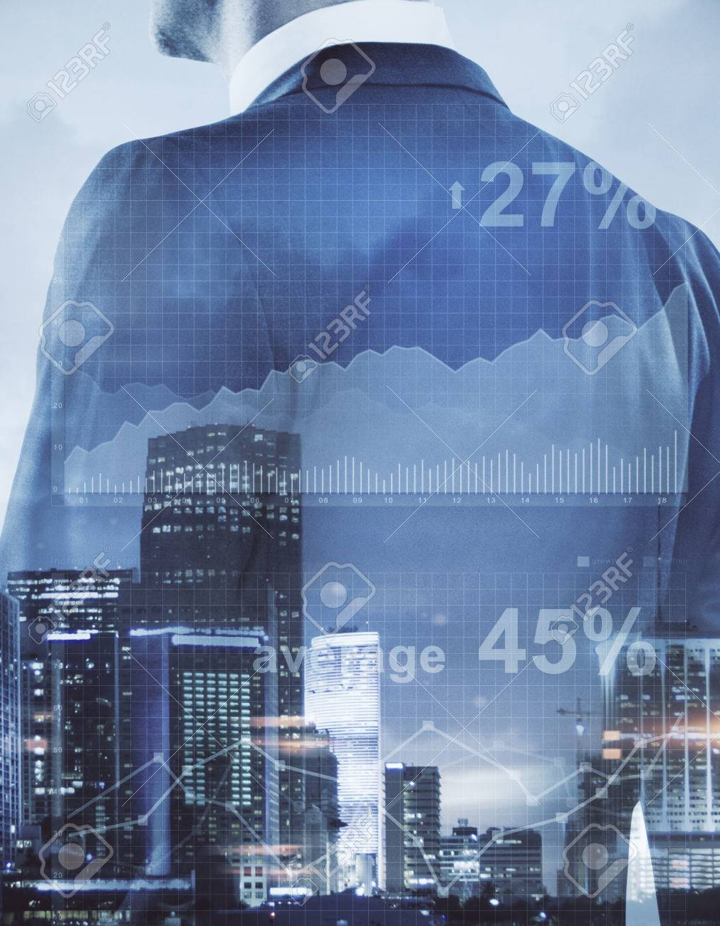 Unrecognizable businessman on abstract city background with business chart. Financial growth concept. Double exposure - 84779116
