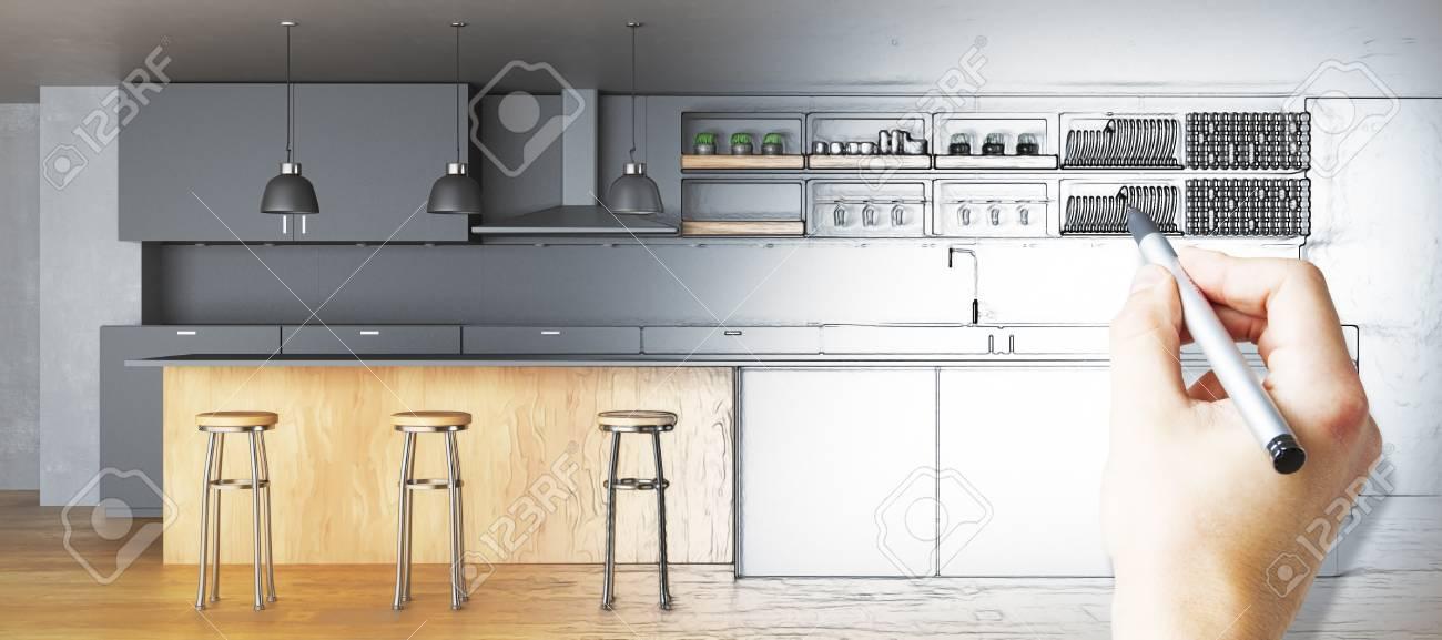 Main Dessiner Une Cuisine Inachevée Concept De Plan Rendu 3d