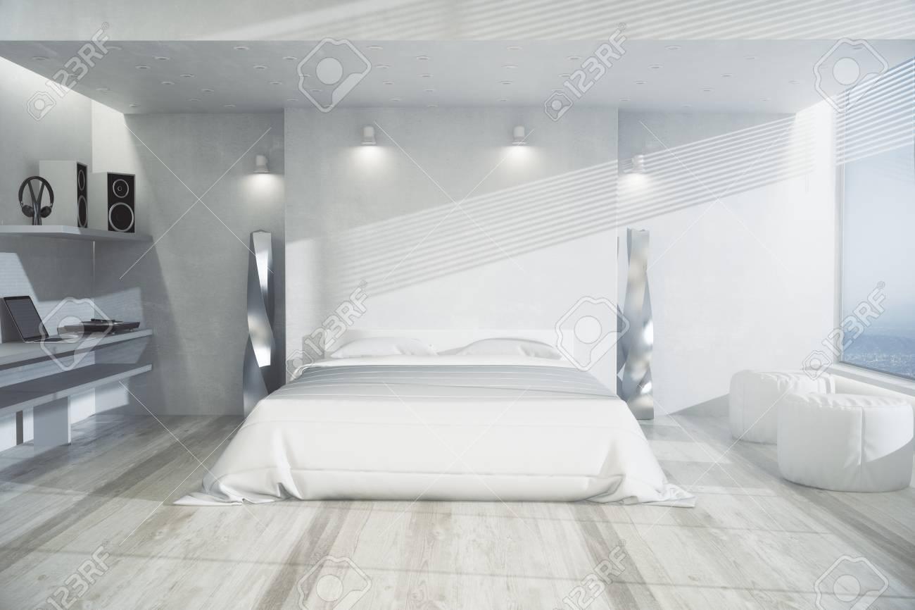 Moderner Fußboden ~ Moderner schlafzimmerinnenraum mit weißen möbeln hölzernem