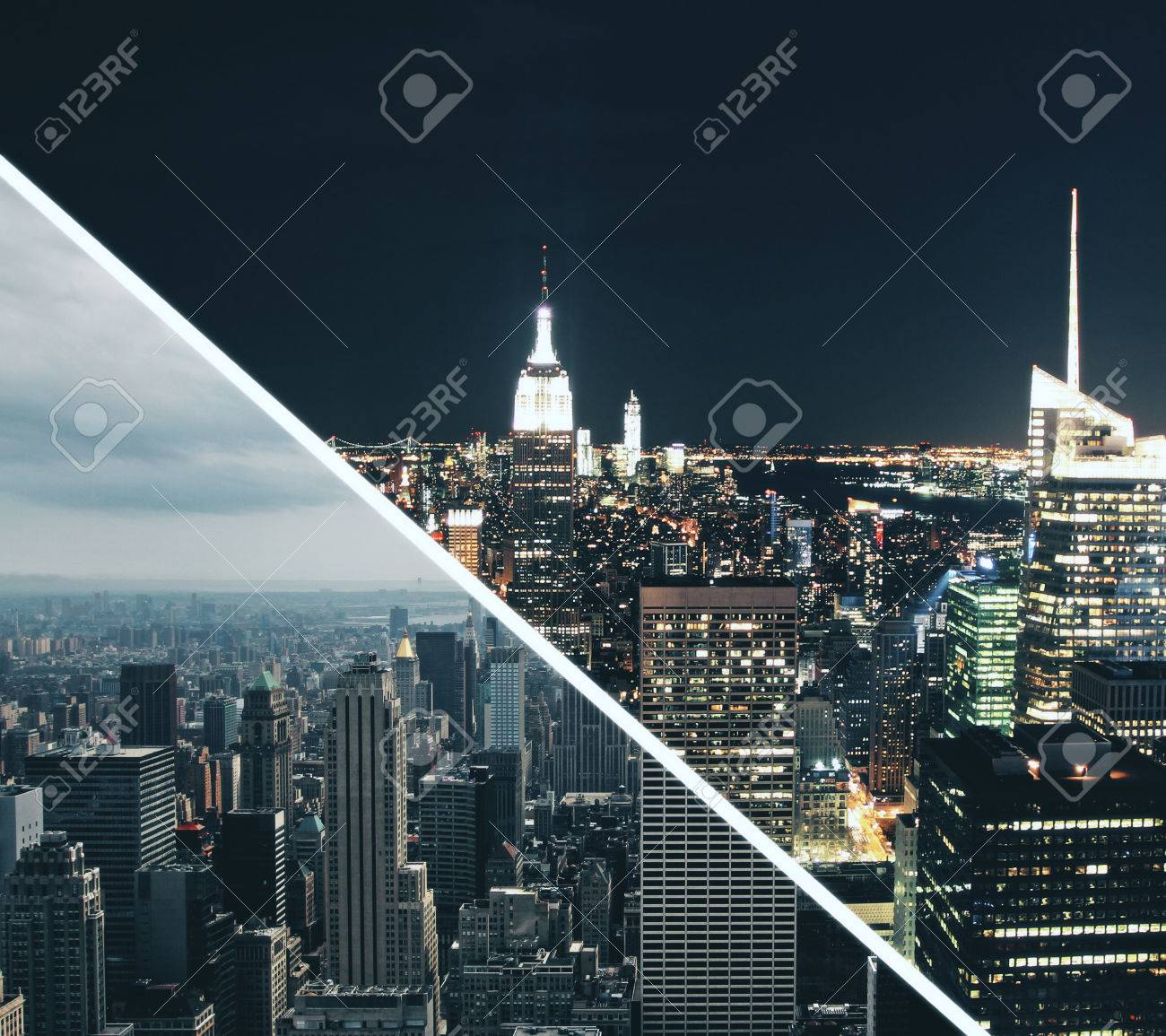 Abstract Day And Night City Wallpaper Stock Photo