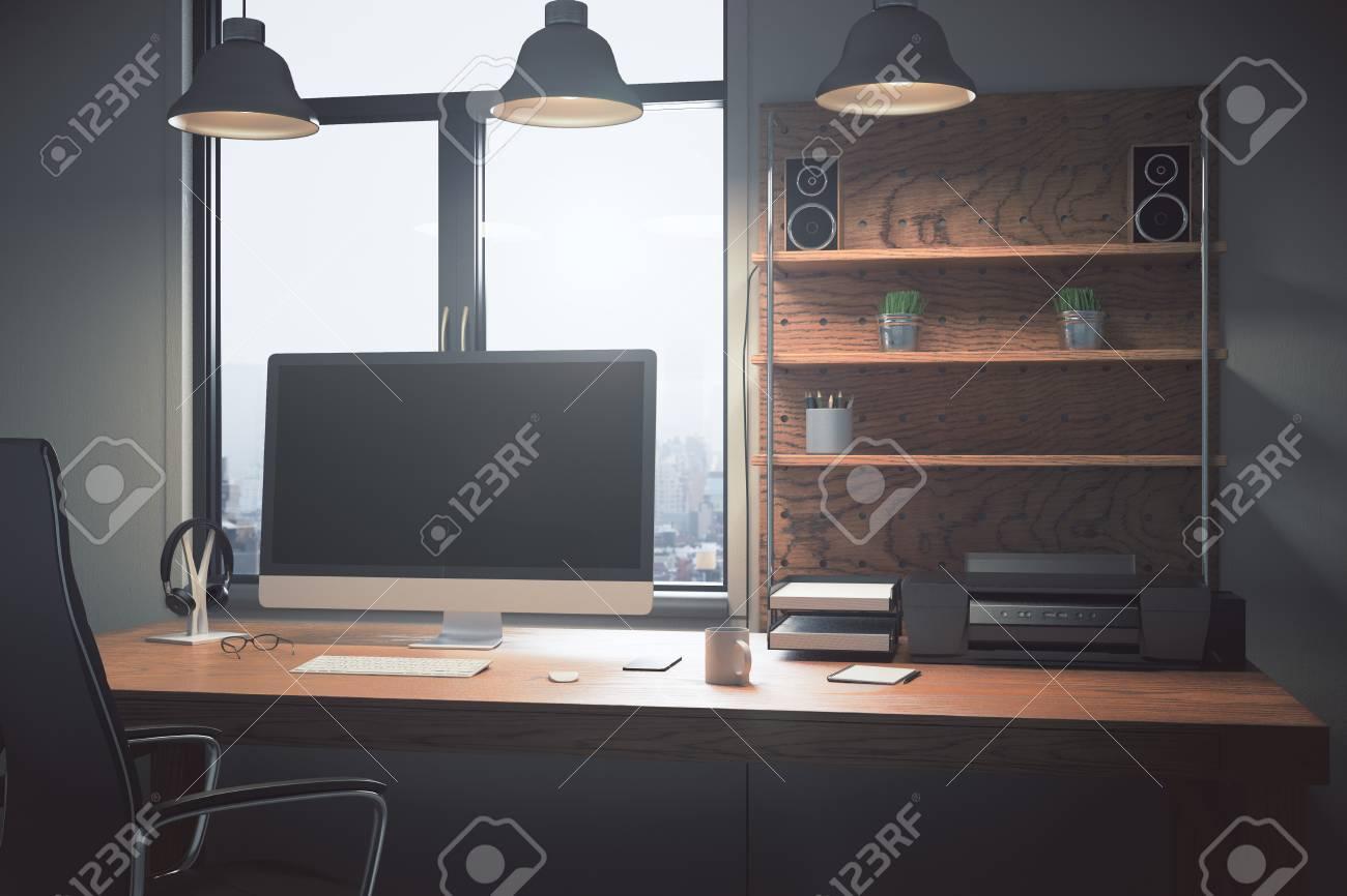 Immagini Stock Disegnatore Creativo Desktop Con Schermo Del