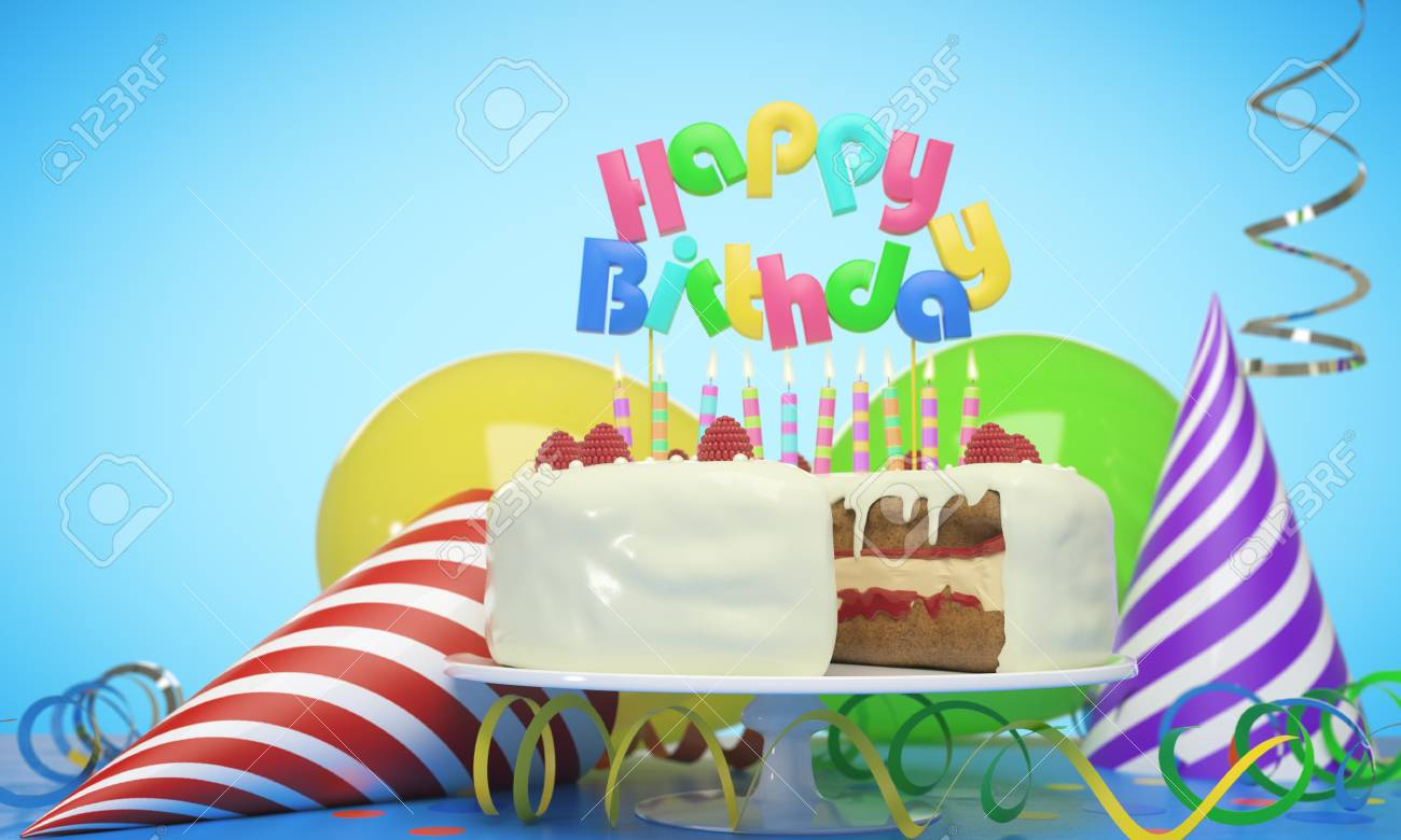 Delicious Birthday Cake With Candles Hats And Balloons On Blue Background Celebration Concept