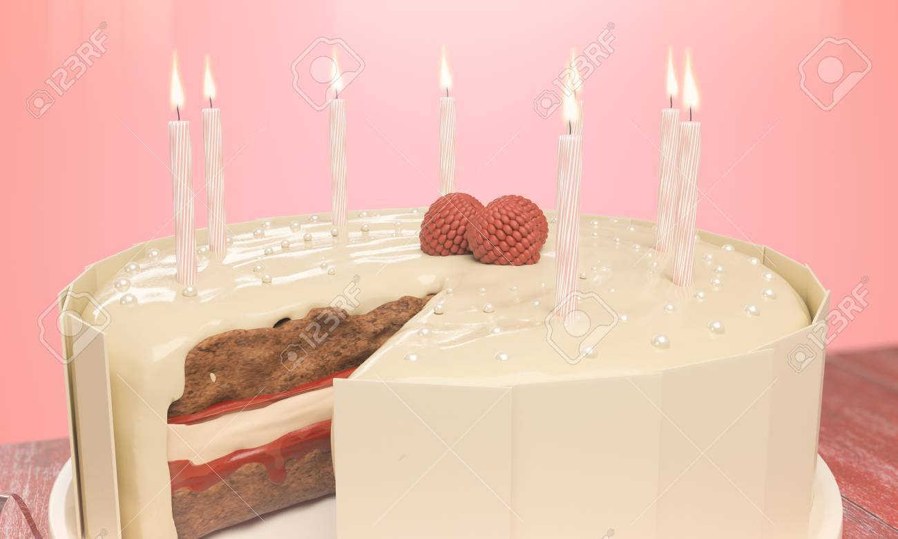Close Up Of Delicious Birthday Cake With Candles On Pink Background Celebration Concept 3D