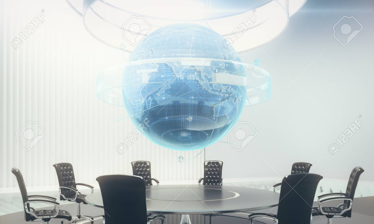 Abstract Meeting Room With Glowing Business Globe Hologram Above - Global conference table