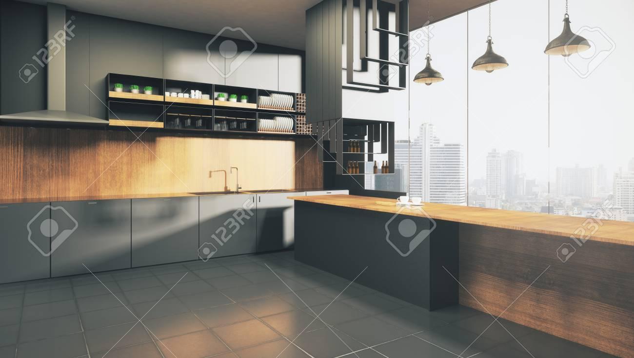 Moderno studio di cucina in legno scuro con vista sulla città e luce  solare. Rendering 3D