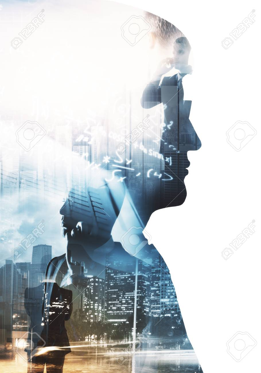Side portrait of businessman on abstract city background with mathematical formulas. Education and think concept. Double exposure - 90992550