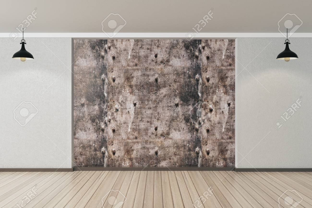 Modern interior with empty textured panel gallery exhibition