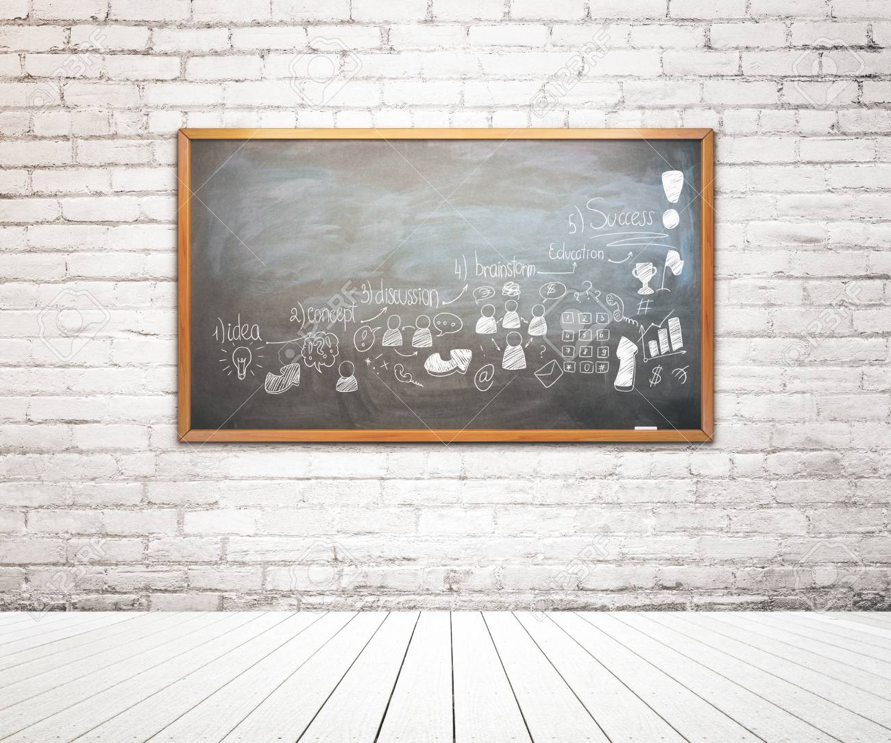 Brick Interior With Business Drawing On Framed Chalkboard ...