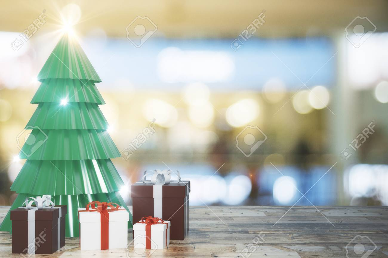 Creative Christmas Tree And Gifts On Blurry Wallpaper With Wooden Stock Photo Picture And Royalty Free Image Image 91890109