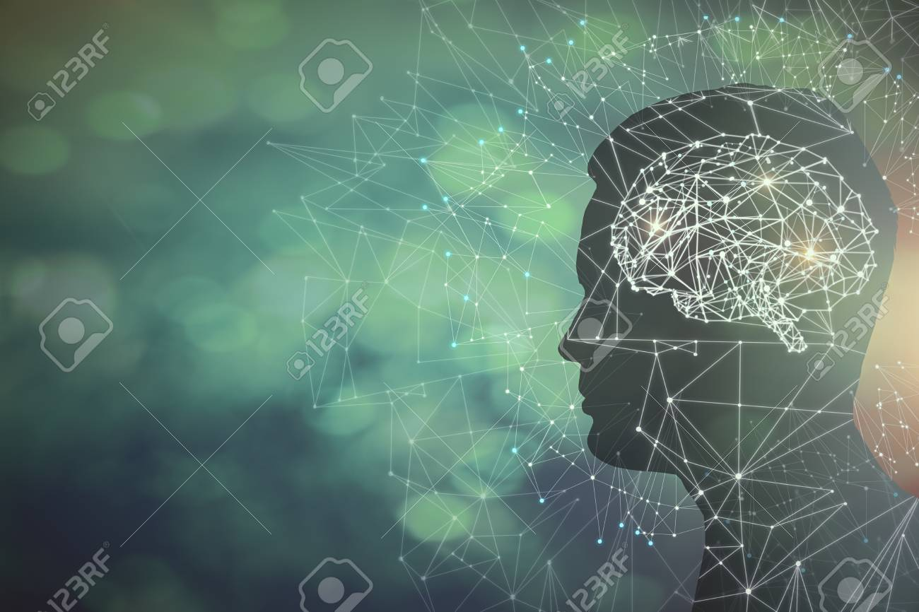 Man profile silhouette with abstract polygonal brain on blurry background. Artificial intelligence and science concept. 3D Rendering - 95477703