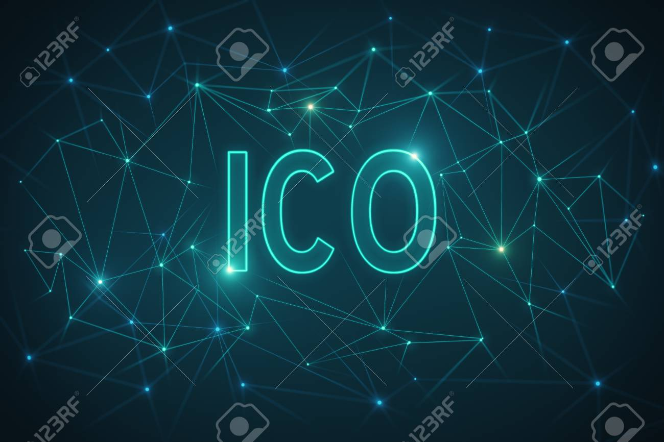 Abstract Polygonal ICO Wallpaper Technology And Blockchain Concept 3D Rendering Stock Photo
