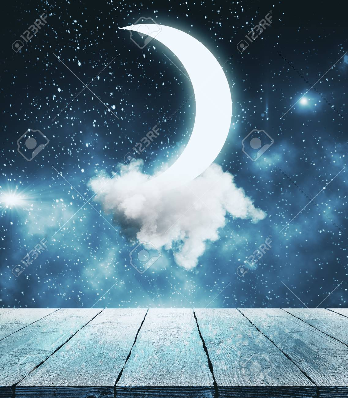 Creative Moon In Starry Sky Background Imagination And Dreams Concept Stock Photo