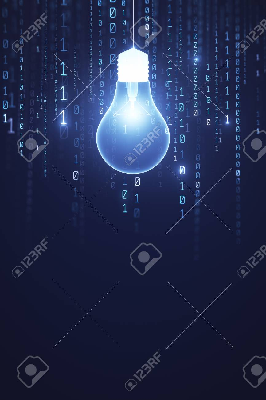 Glowing light bulb on dark wall background with copy space. Idea and software concept. 3D Rendering - 102072388