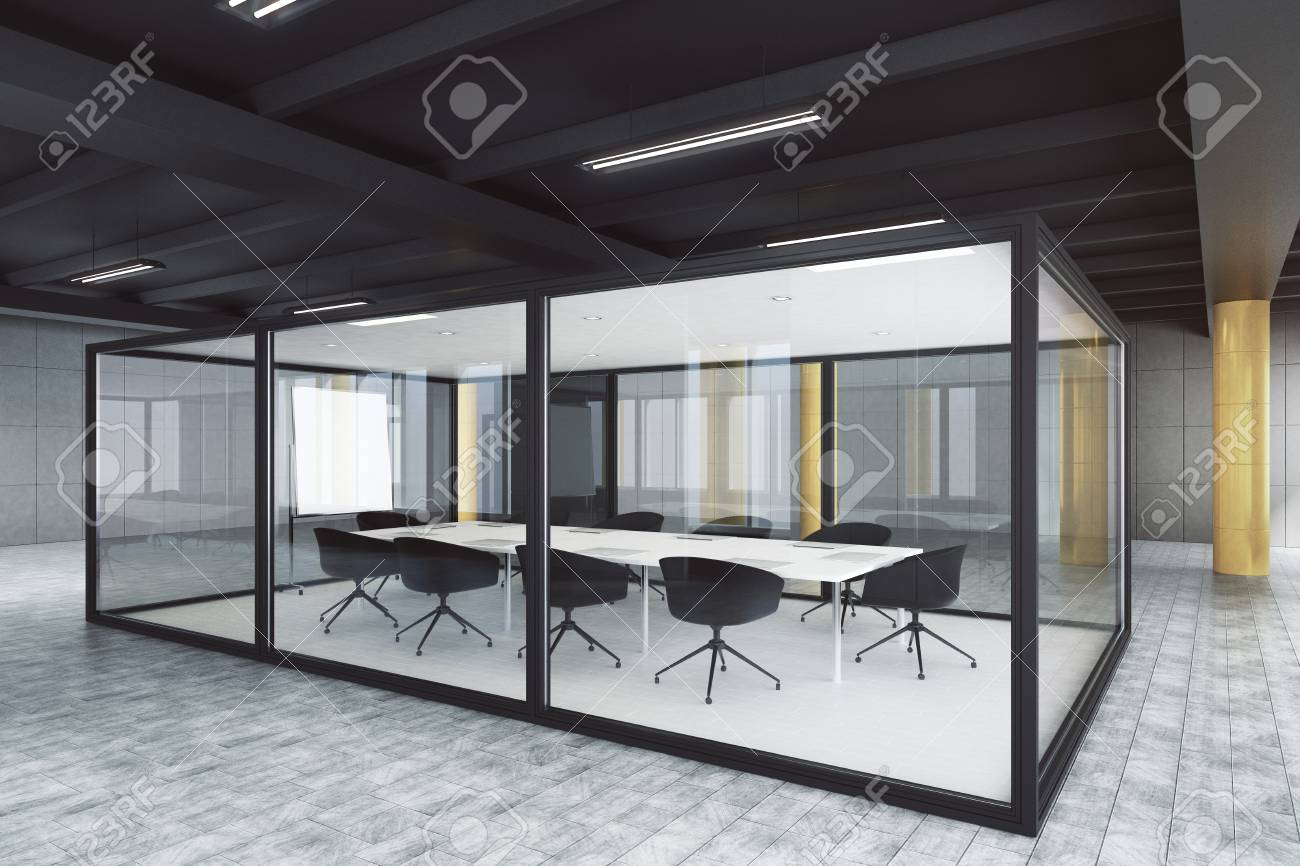 Modern glass meeting room interior design and style concept 3d rendering stock photo