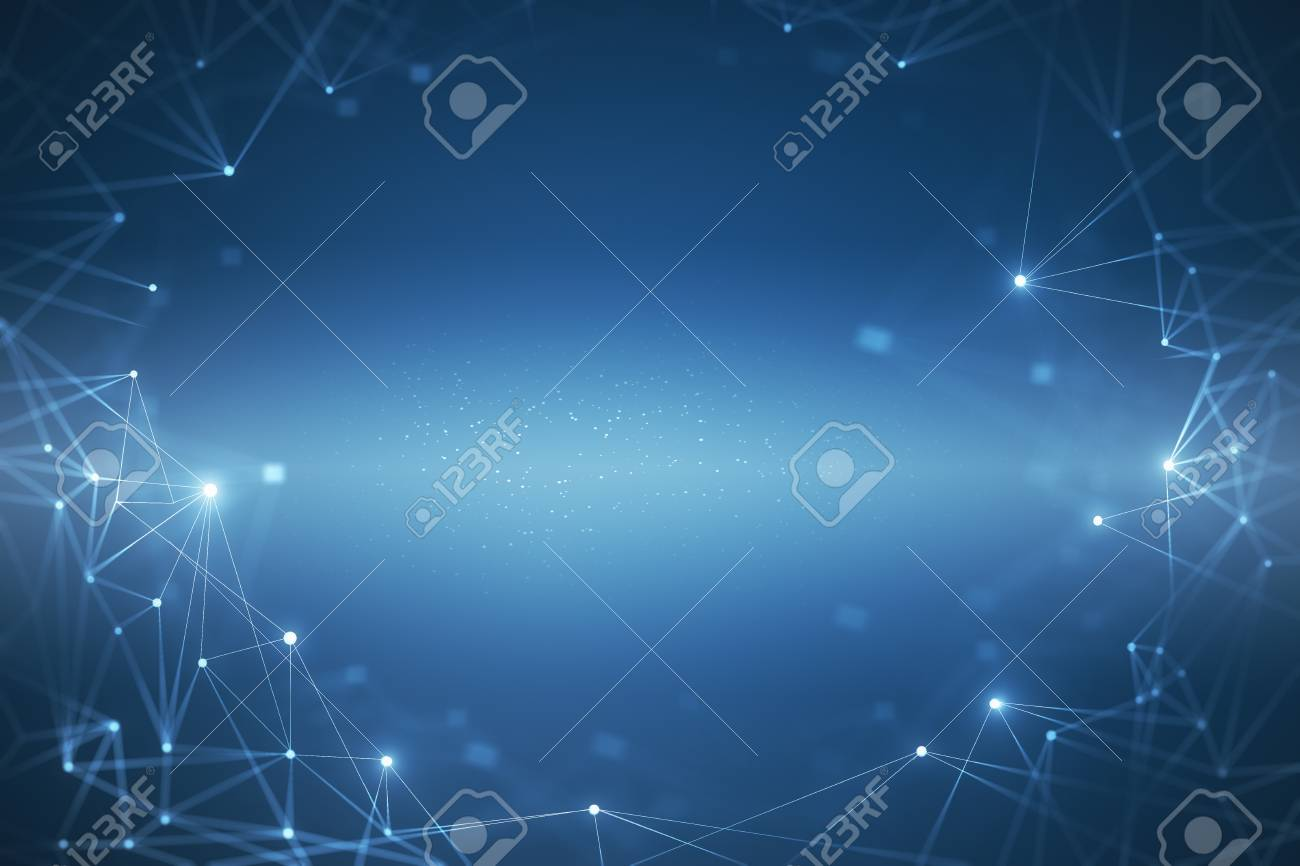 Creative glowing blue polygonal background. Science and technology concept. 3D Rendering - 103539114