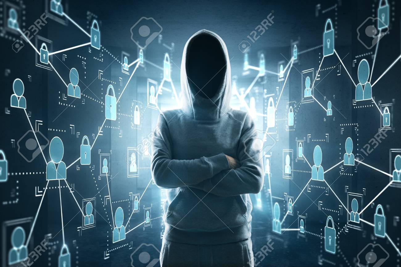 cybercrime, hacking and technology crime  no face hacker crossing
