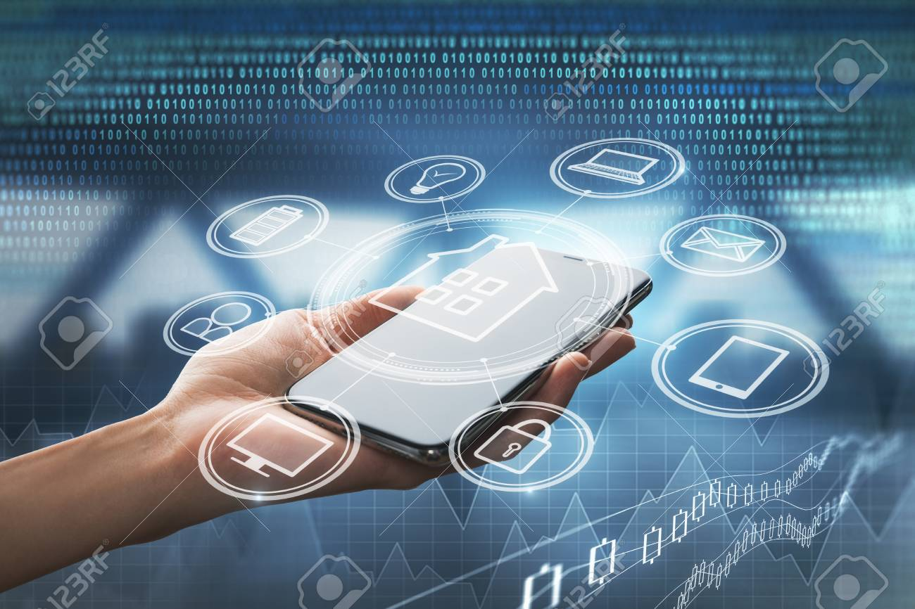 Hand holding smartphone with abstract smart home interface. Technology and future concept. Double exposure - 106747142